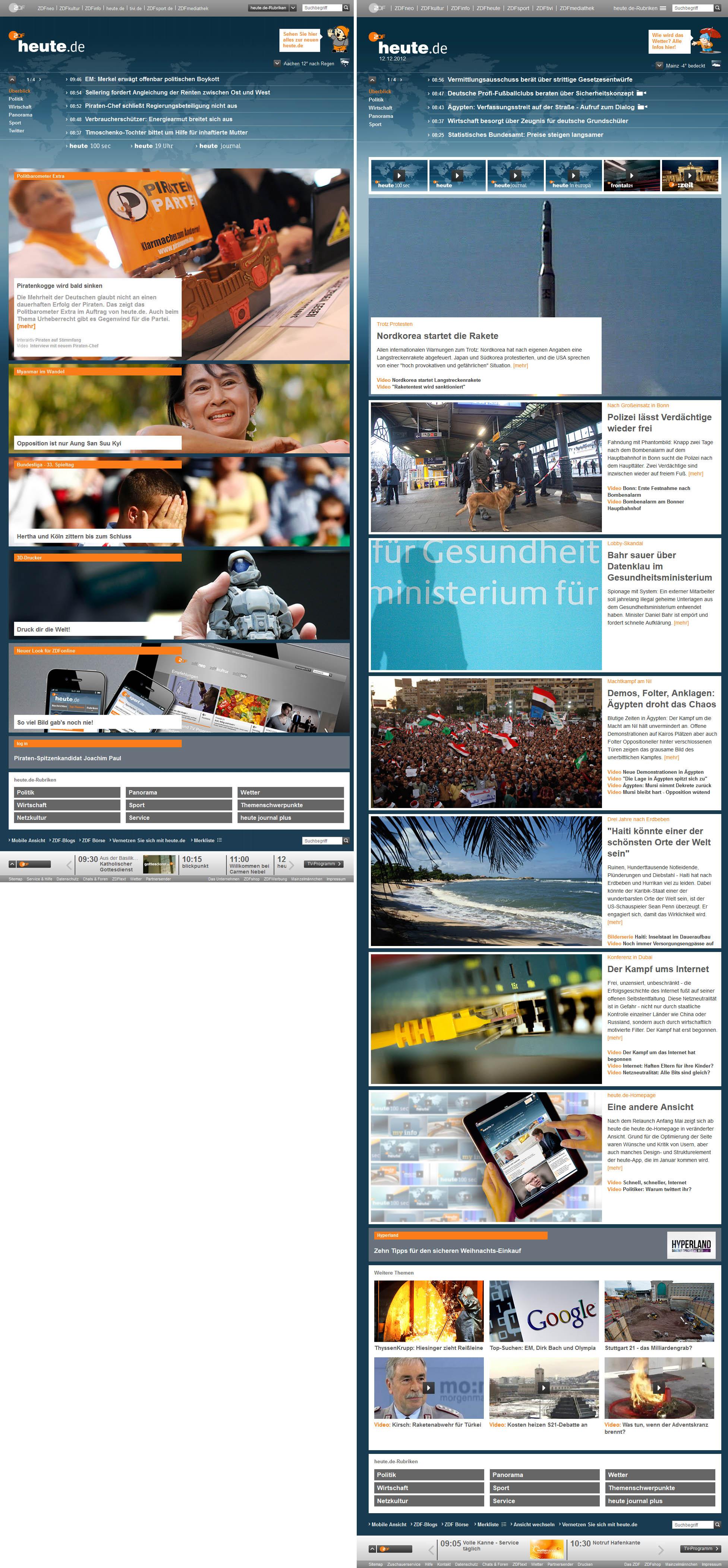 Vergleich des heute.de-Layouts vom 29.04. und 12.12.2012